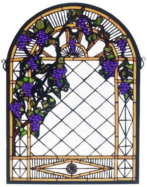 "Grape Diamond Trellis | Stained Glass Panel | 16"" W X 22"" H"