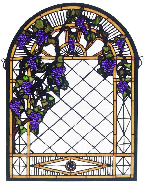 "Grape Diamond Trellis   Stained Glass Panel   16"" W X 22"" H"