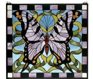 "Butterfly | Tiffany Stained Glass Panel | 25"" X 23"""