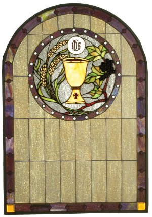"Sacrament | Stained Glass Window | 22"" W X 32"" H"