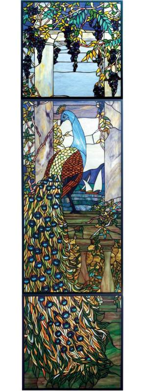 "Tiffany Peacock Wisteria | Art Glass Window | 21"" X 80"""