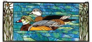 "Wood Ducks | Tiffany Glass Window | 35"" X 16"""