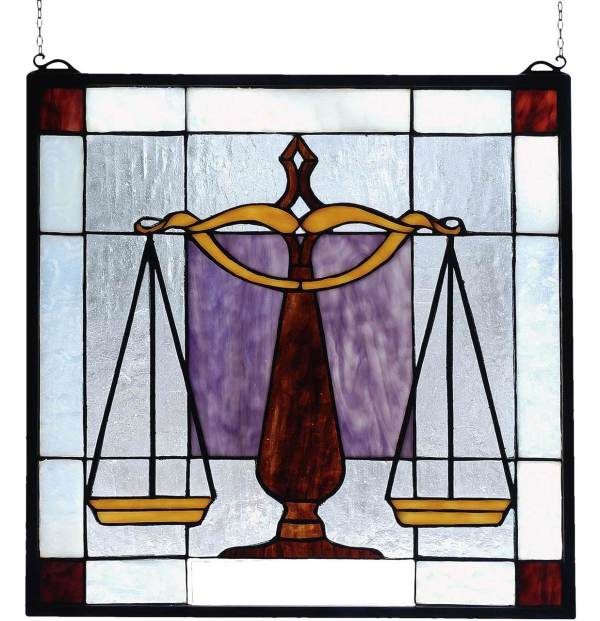 "Judicial | Law Office Art Glass Window | 18"" X 18"""