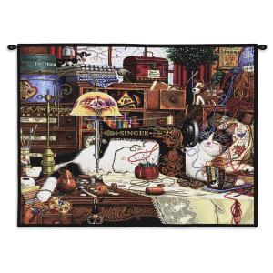Charles Wysocki Cat Maggie The Messmaker | 34 x 26 | Tapestry