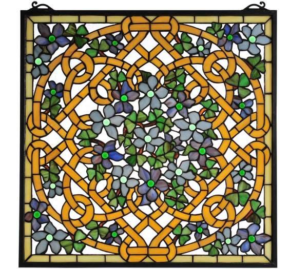"Shamrock Garden   Art Glass Window Panel   22"" X 22"""