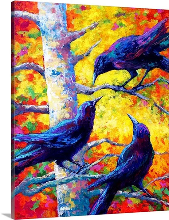 Crows II by Marion Rose Painting Print on Canvas