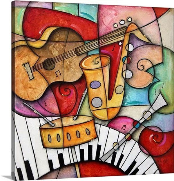 Jazz Makers I (Sax) by Eric Waugh Painting Print on Canvas