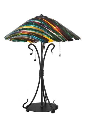 "24"" H Penna Di Pavone Fused Glass Table Lamp"