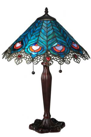 "23"" H Peacock Feather Lace Accent Lamp"