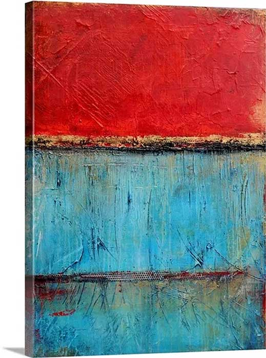 Red Sky Tide by Erin Ashley Art Print on Canvas