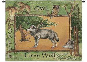 """Gray Wolf   34"""" x 26""""   Tapestry Wall Hanging"""