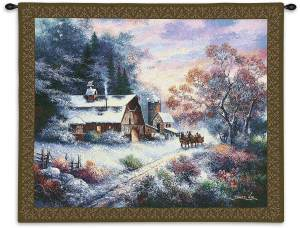 "Snowy Evening Outing | 34"" x 26"" 