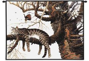 Charles Wysocki Cat Too Pooped To Participate | 34 x 26 | Tapestry Wall Hanging