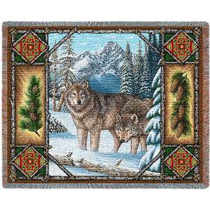 Wolf Lodge | Woven Throw Blanket