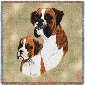 "Boxer & Pup Breed Portrait | Throw Blanket | 54"" x 54"""