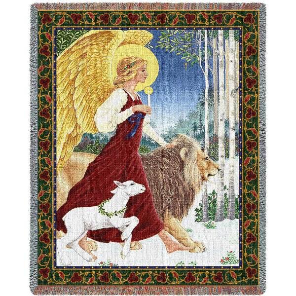 Angel and Lamb | Christmas Throw Blanket | 70 x 54