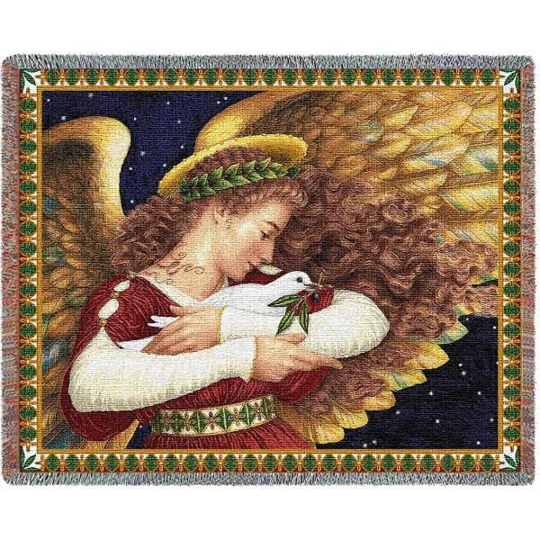 Angel & Dove | Christmas Seasonal Throw Blanket