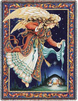 Celestial Tidings   Christmas Nativity   Christmas Throw Blanket   70 x 53