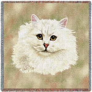 Cat Portrait | Chinchilla Persian | Afghan Blanket | 54 x 54