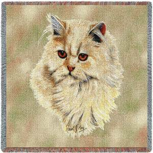 Cat Portrait   Cream Persian   Afghan Blanket   54 x 54