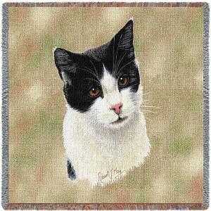 Cat Portrait | Black & White | Afghan Blanket | 54 x 54
