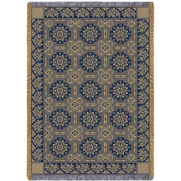 1845 Quilt Navy | Afghan Throw | 48 x 69