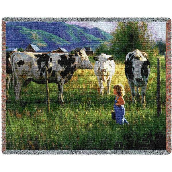 Anniken And The Cows Country   Throw Blanket
