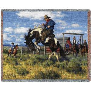 Rough Start (Cowboy) by Robert Duncan | Tapestry Blanket | 70 x 54
