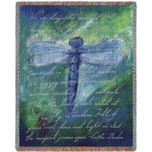 Dragonfly Poem Contemporary   Throw Blanket