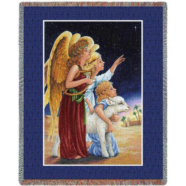 Angels At Night | Christmas Seasonal Throw Blanket
