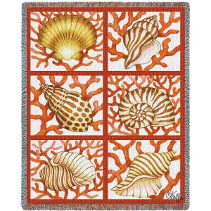 "Shells And Coral | Tapestry Blanket | 70"" x 54"""