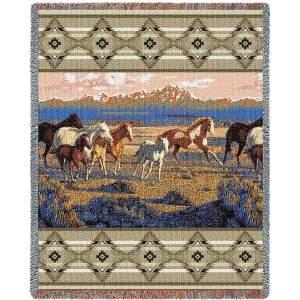 Wild Horses Beige | Tapestry Blanket | 54 x 70