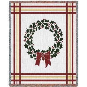 Christmas Wreath Holiday | Christmas Seasonal Throw Blanket