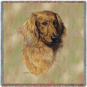 "Brown Longhaired Dachshund Breed Portrait | Throw Blanket | 54"" x 54"""