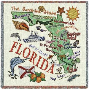 Florida State Map Blanket | Woven Tapestry Throw | 54 x 54