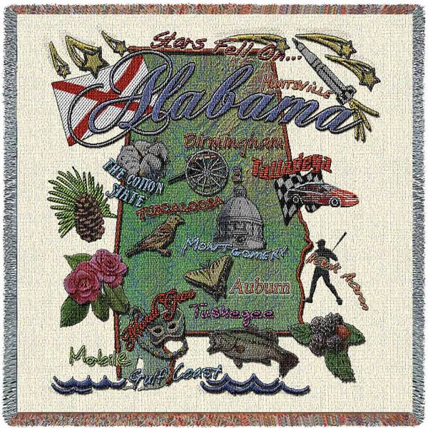 Alabama State Map Blanket | Woven Tapestry Throw | 54 x 54
