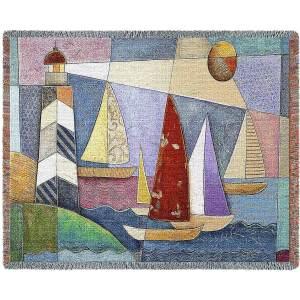 Bay Regatta | Cotton Throw Blanket | 54 x 70