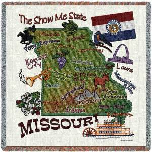 Missouri State Map Blanket | Woven Tapestry Throw | 54 x 54
