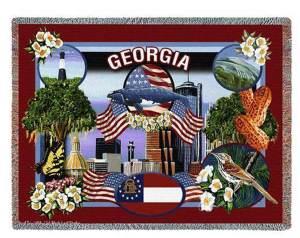 State Of Georgia | Cotton Throw Blanket | 54 x 70
