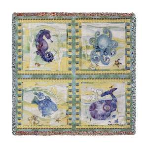Playful Sea | Woven Throw Blanket | 54 x 54