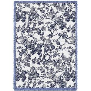 Amelias Garden Navy | Throw Blanket | 69 x 48