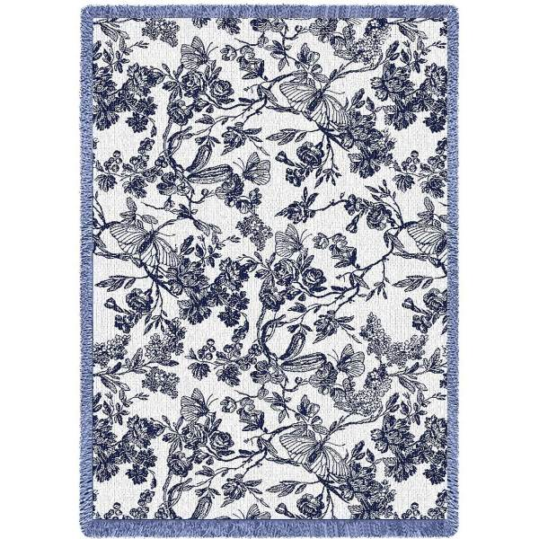 Amelias Garden Navy | Throw Blanket | 69 x 48