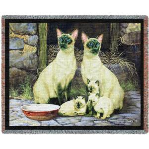 Siamese Cat Family | Throw Blanket