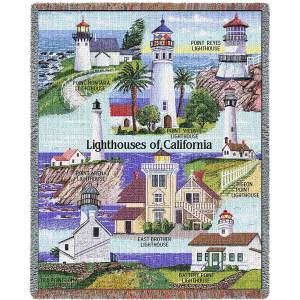 Lighthouses of California | Tapestry Blanket | 53 x 70