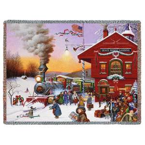 Whistle Stop Christmas | Charles Wysocki | Christmas Tapestry Throw Blanket