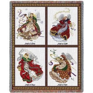 Celestial Angels   Afghan Blanket   54 x 70