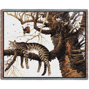Charles Wysocki | Too Pooped To Participate | Cat Cotton Throw Blanket | 70 x 54