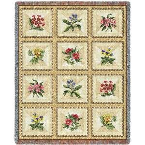 French Floral | Afghan Blanket | 54 x 70