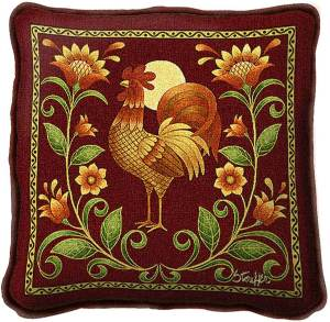 Sunrise Rooster | Decorative Throw Pillow | 17 x 17