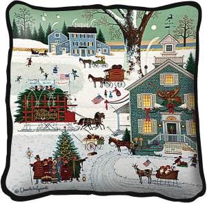 Cape Cod Christmas   Charles Wysocki   Christmas Throw Pillow   17 x 17